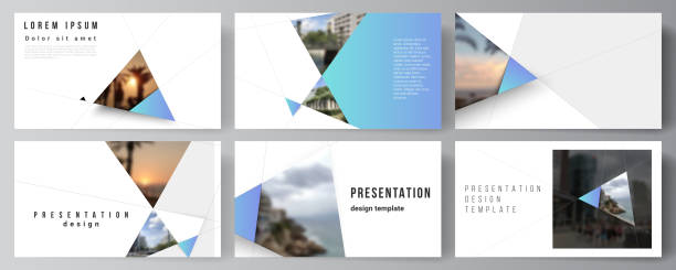 The minimalistic abstract vector layout of the presentation slides design business templates. Creative modern background with blue triangles and triangular shapes. Simple design decoration. – artystyczna grafika wektorowa