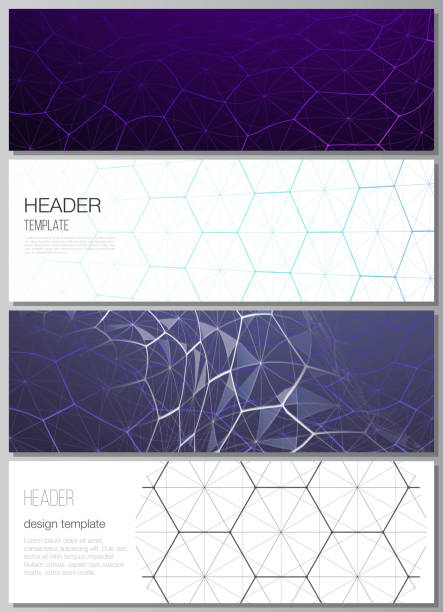 The minimalistic vector illustration layout of headers, banner design templates. Digital technology and big data concept with hexagons, connecting dots and lines, polygonal science medical background. – artystyczna grafika wektorowa