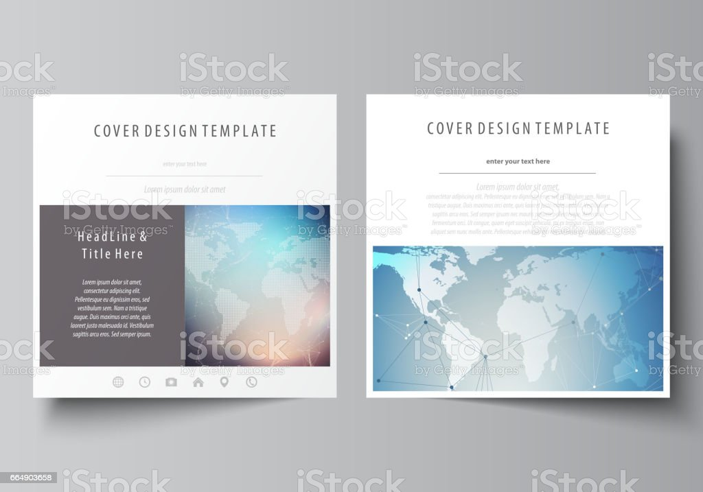 The minimalistic vector illustration of editable layout of two square format covers design templates for brochure, flyer, booklet. Polygonal geometric linear texture. Global network, dig data concept the minimalistic vector illustration of editable layout of two square format covers design templates for brochure flyer booklet polygonal geometric linear texture global network dig data concept - immagini vettoriali stock e altre immagini di affari royalty-free