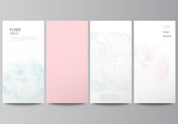The minimalistic vector illustration of the editable layout of flyer, banner design templates. Topographic contour map, abstract monochrome background. – artystyczna grafika wektorowa