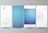 The minimalistic vector illustration of the editable layout of flyer, banner design templates. Big Data Visualization, geometric communication background with connected lines and dots