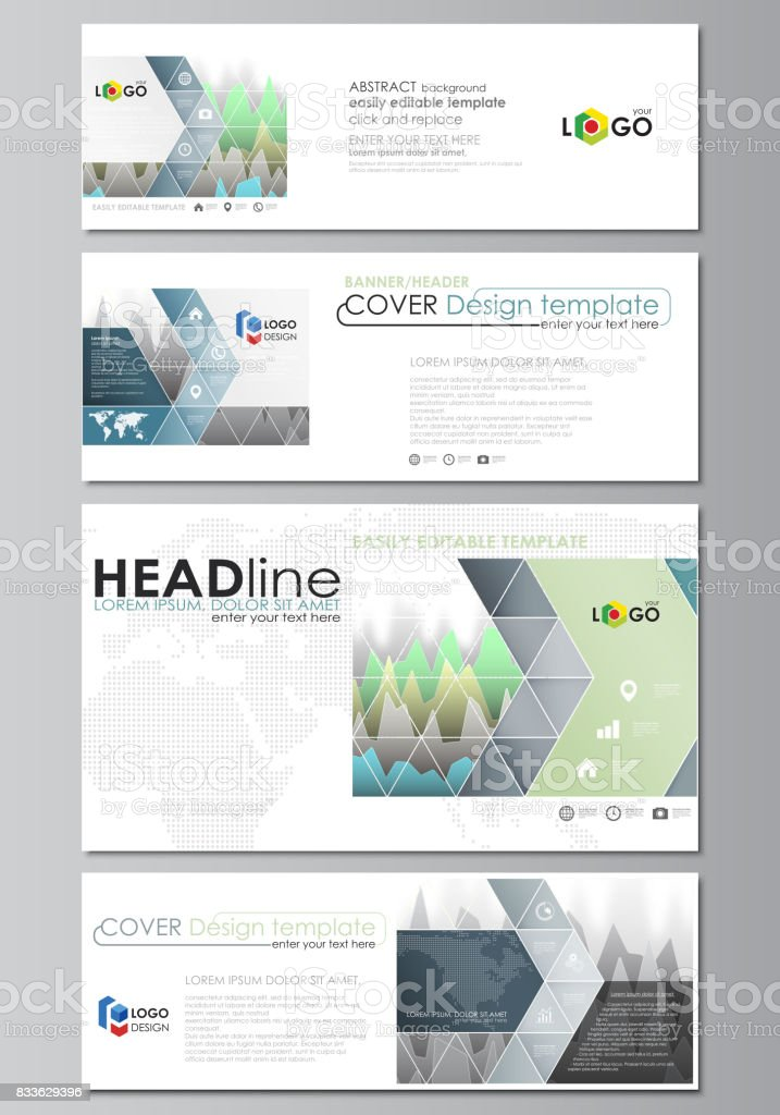 The minimalistic vector illustration of the editable layout of social media, email headers, banner design templates in popular formats. Rows of colored diagram with peaks of different height - illustrazione arte vettoriale