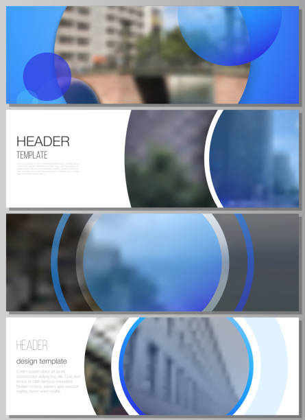 The minimalistic vector illustration of the editable layout of headers, banner design templates. Creative modern blue background with circles and round shapes. – artystyczna grafika wektorowa