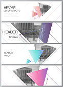 The minimalistic vector illustration of the editable layout of headers, banner design templates. Colorful polygonal background with triangles with modern memphis pattern