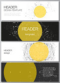 The minimalistic vector illustration of the editable layout of headers, banner design templates. Science or technology 3d background with dynamic particles. Chemistry and science concept