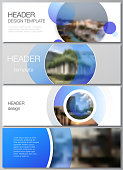 The minimalistic vector illustration of the editable layout of headers, banner design templates. Creative modern blue background with circles and round shapes
