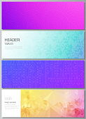 The minimalistic vector illustration of the editable layout of headers, banner design templates. Abstract geometric pattern with colorful gradient business background