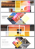 The minimalistic vector illustration of the editable layout of headers, banner design templates. Creative trendy style mockups, blue color trendy design backgrounds