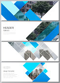 The minimalistic vector illustration of the editable layout of headers, banner design templates. Abstract geometric pattern creative modern blue background with rectangles