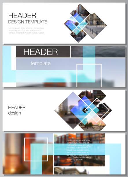 The minimalistic vector illustration of the editable layout of headers, banner design templates. Creative trendy style mockups, blue color trendy design backgrounds. – artystyczna grafika wektorowa