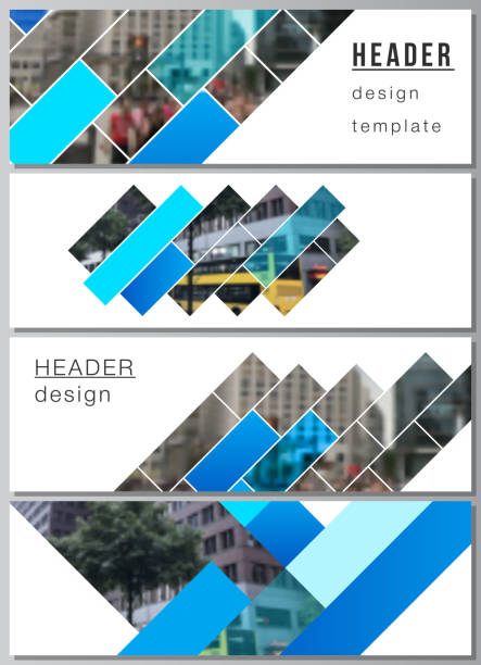 The minimalistic vector illustration of the editable layout of headers, banner design templates. Abstract geometric pattern creative modern blue background with rectangles. – artystyczna grafika wektorowa