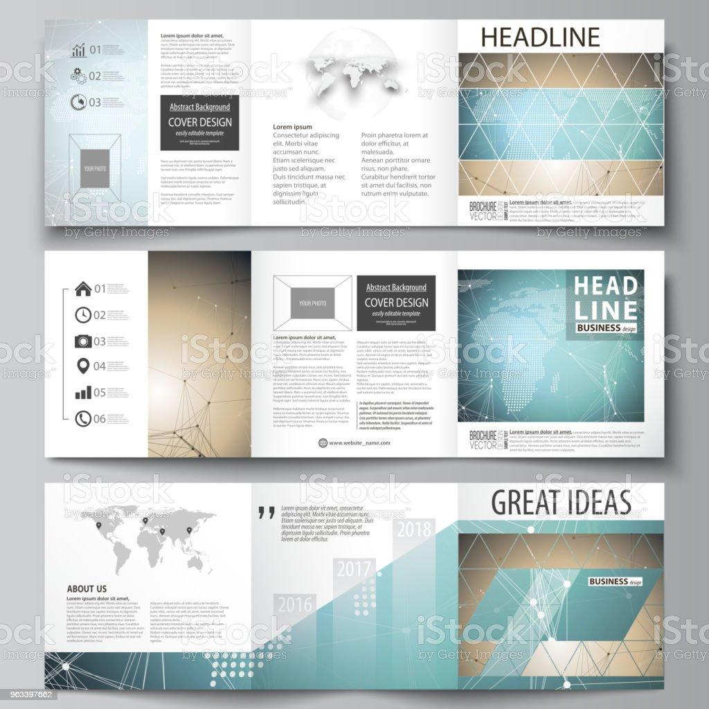 Minimalistyczna ilustracja wektorowa edytowalnego układu. Trzy kreatywne okładki szablonów projektowania broszury kwadratowych lub ulotki. Wzór chemii ze strukturą cząsteczki. Badania dna medycznego - Grafika wektorowa royalty-free (Bez ludzi)