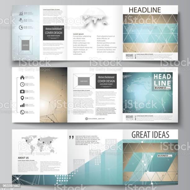 Minimalistyczna Ilustracja Wektorowa Edytowalnego Układu Trzy Kreatywne Okładki Szablonów Projektowania Broszury Kwadratowych Lub Ulotki Wzór Chemii Ze Strukturą Cząsteczki Badania Dna Medycznego - Stockowe grafiki wektorowe i więcej obrazów Bez ludzi