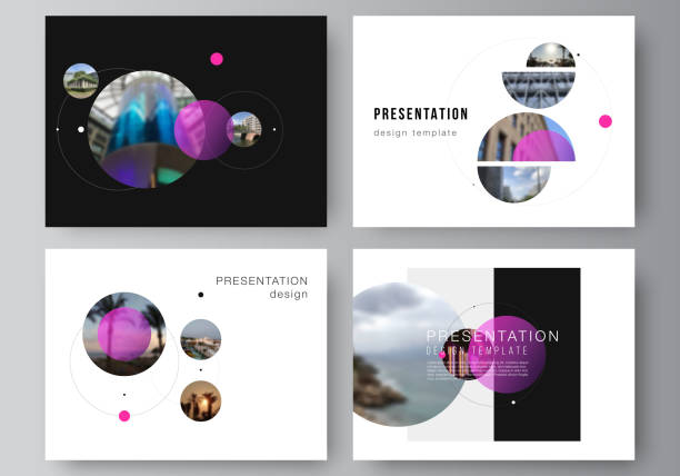 The minimalistic vector layout of the presentation slides design business templates. Simple design futuristic concept. Creative background with circles and round shapes that form planets and stars. – artystyczna grafika wektorowa