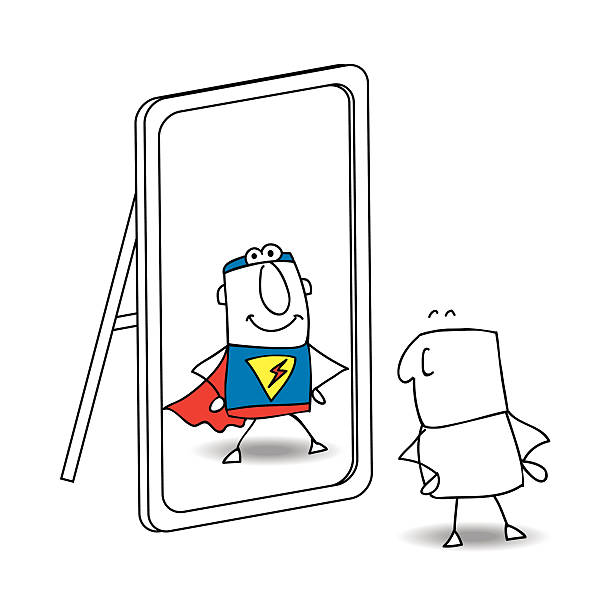 The mirror Joe looks in the mirror. He sees a superhero in the reflection. It's a metaphor of the power which is in each person showing off stock illustrations