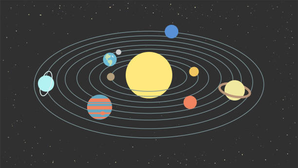 the model of the solar system - venus stock illustrations