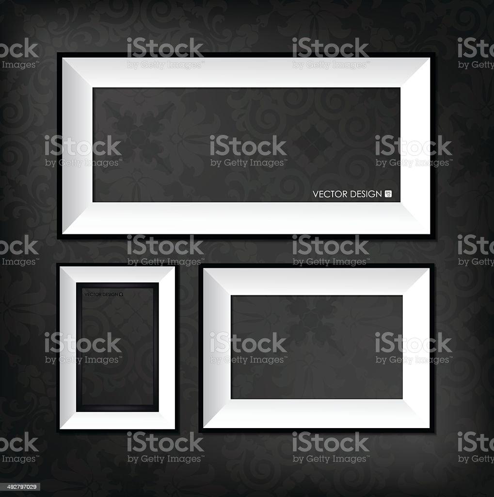 Moderne Bilderrahmen Auf Dem Dunklen Hintergrund Vektorillustration ...