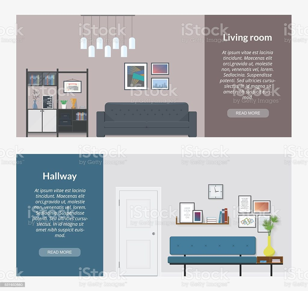 The modern interior design in a flat style. vector art illustration