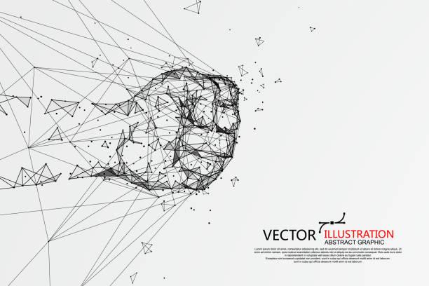 Der Moment, in dem die Faust ins Netz traf, Vektor-Illustration. – Vektorgrafik