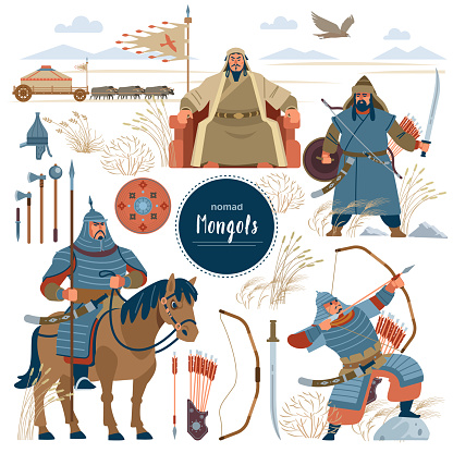 The Mongols. Set mongol nomad warriors flat characters. warriors, khan, sword, armor, genghis, steppe, shield, army, horse, arrow, rider, archer, horde, bow, emperor, yurt, bull, eagle. Flat style
