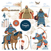 istock The Mongols. Set mongol nomad warriors flat characters. warriors, khan, sword, armor, genghis, steppe, shield, army, horse, arrow, rider, archer, horde, bow, emperor, yurt, bull, eagle. Flat style 1291711563