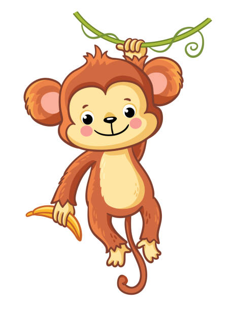 the monkey hangs on a branch. - monkey stock illustrations