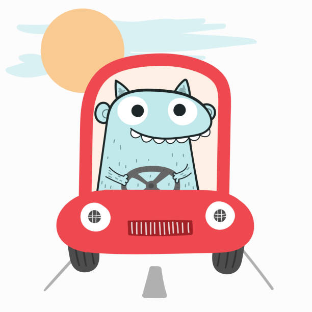 The monster is driving the car in the sunset atmosphere.Doodle art concept,illustration painting vector art illustration