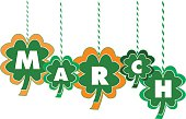 The Month of March Text Within Hanging Shamrocks