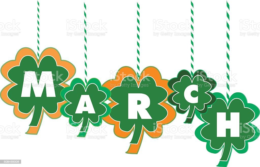 The Month of March Text Within Hanging Shamrocks vector art illustration