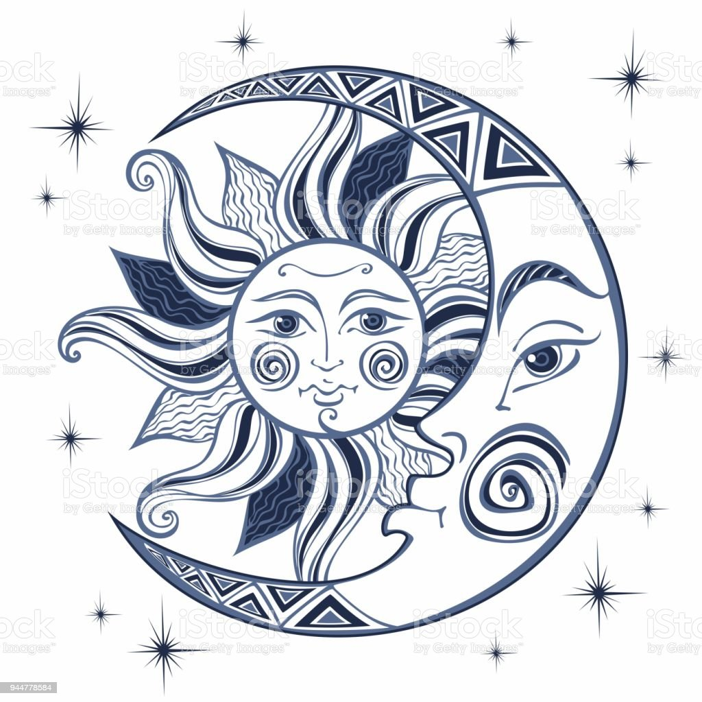 The Moon And The Sun Ancient Astrological Symbol Engraving Boho