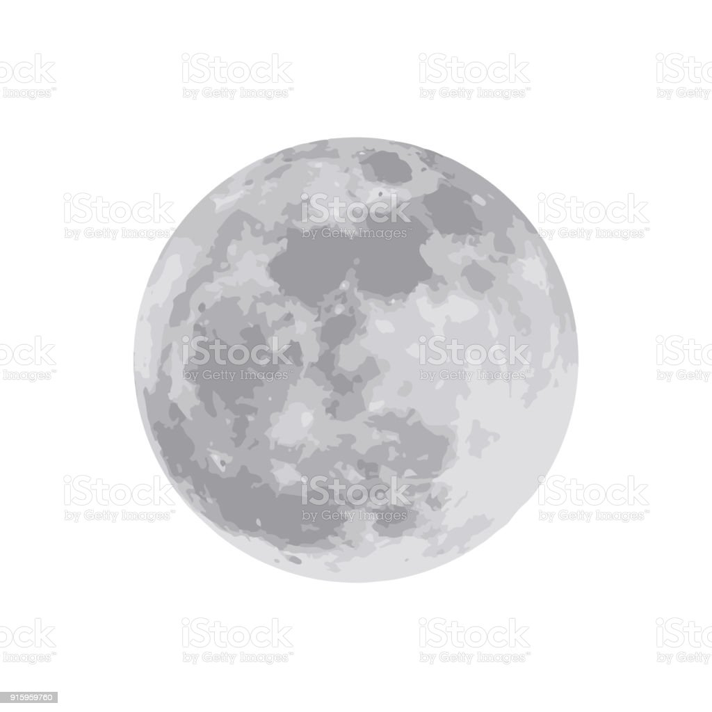 The moon isolated on white background. Vector illustration. EPS 10 vector art illustration