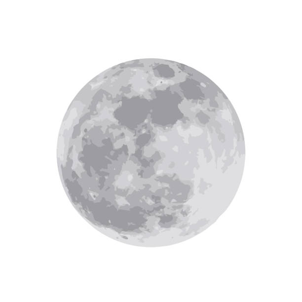 the moon isolated on white background. vector illustration. eps 10 - moon stock illustrations, clip art, cartoons, & icons