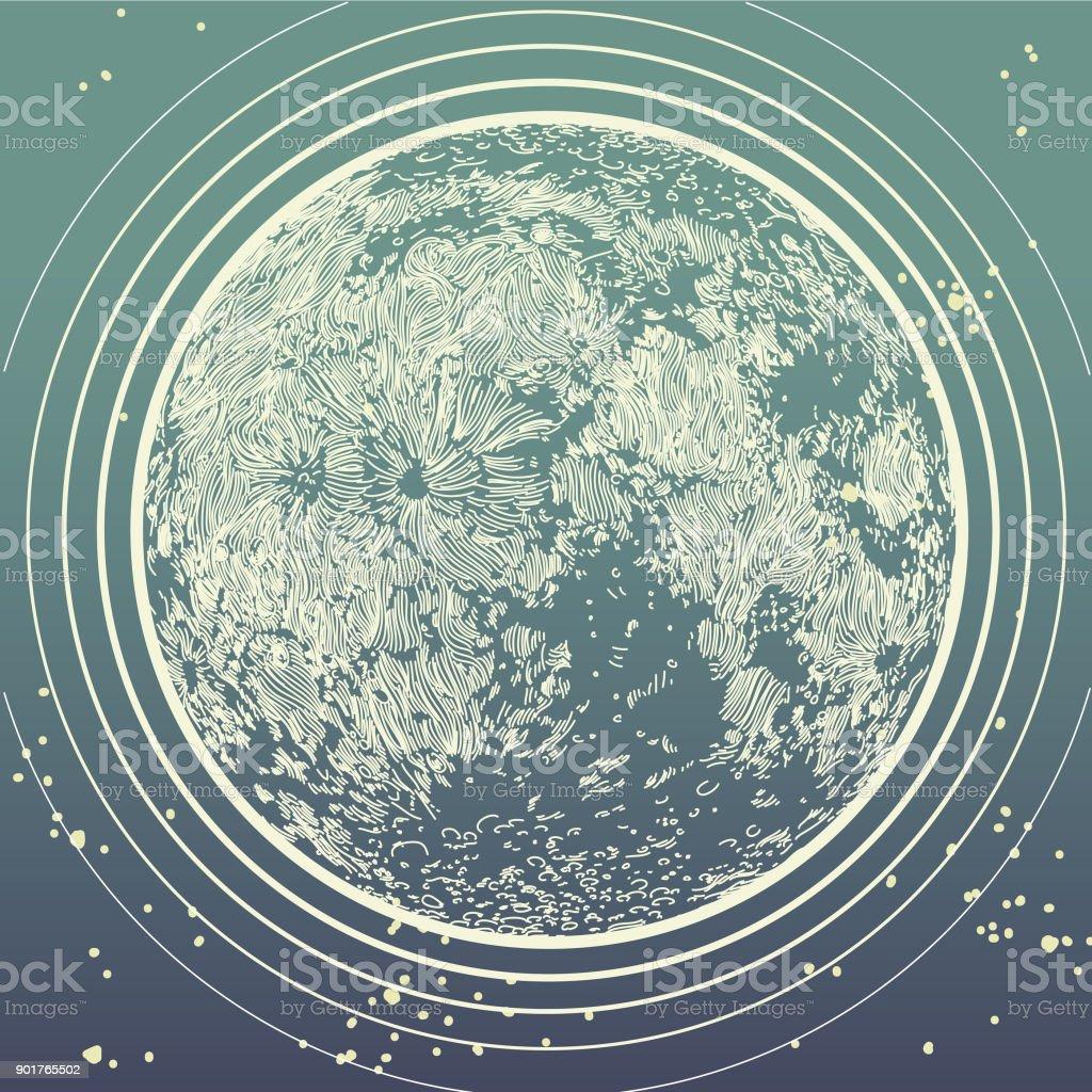The Moon vector art illustration