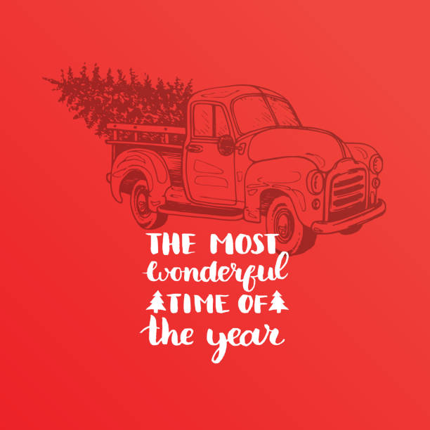 The Most Wonderful Time In Year Lettering On Red Background Vector Christmas Toy Pickup