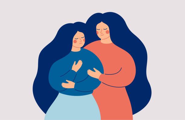 bildbanksillustrationer, clip art samt tecknat material och ikoner med mamman stöttar sin dotter i en svår situation. vänner och familjesupport. - emotionellt stöd