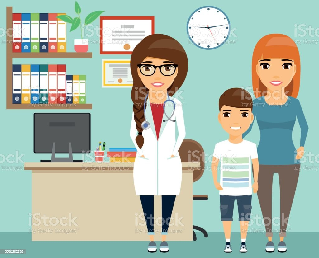 The mother with the child on reception at the doctor. vector art illustration