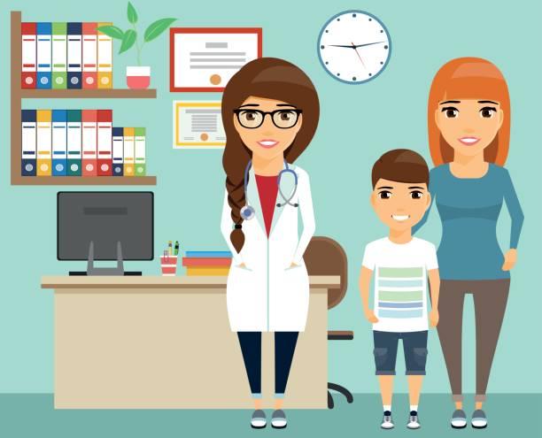 ilustrações, clipart, desenhos animados e ícones de a mãe com a criança na recepção ao médico. - pediatra
