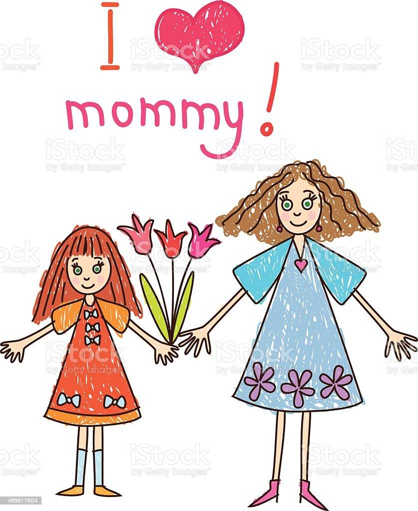 Der Muttertag Kinder Zeichnen Mit Mutter Und Tochter Mit Blumen ...