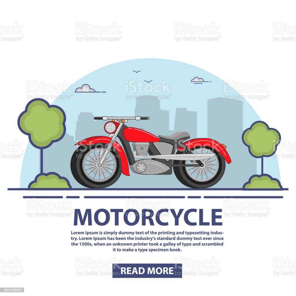 The motorcycle is classical vintage red. The two-wheeled vehicle on roads. Design concept custom motorbike. vector art illustration