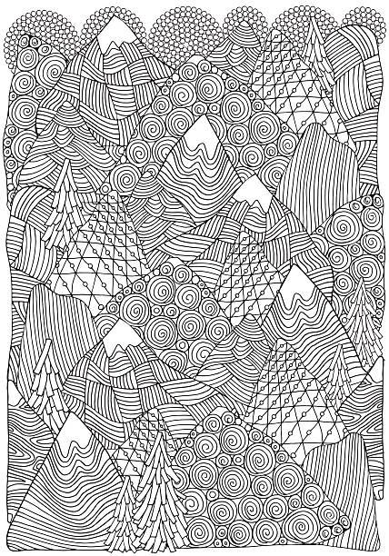 illustrazioni stock, clip art, cartoni animati e icone di tendenza di the mountains. adult coloring book page. a4 size. - fiordi