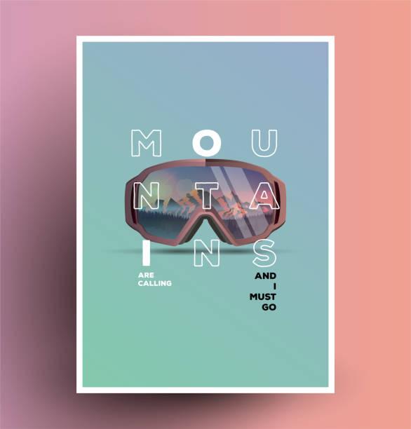 illustrazioni stock, clip art, cartoni animati e icone di tendenza di the mountains are calling. minimalist styled snowboarding themed poster flyer. - negozio sci
