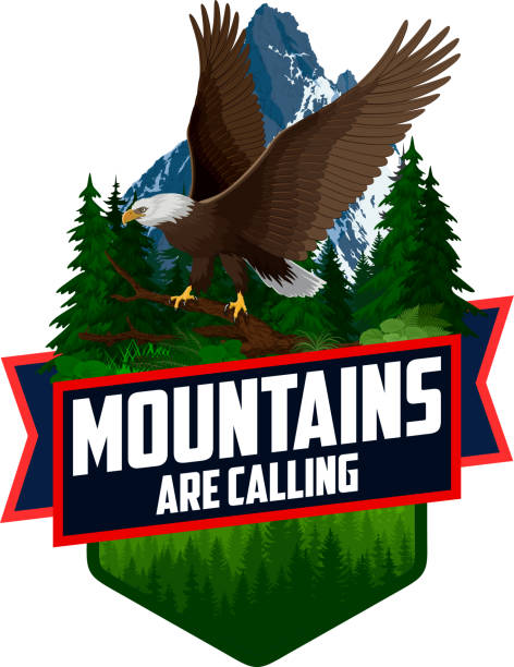 bildbanksillustrationer, clip art samt tecknat material och ikoner med bergen ringer. vektor utomhus äventyr inspirerande motivation emblem illustration med bald eagle - denali national park