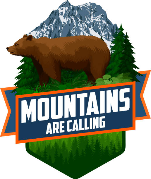 bildbanksillustrationer, clip art samt tecknat material och ikoner med bergen ringer. vektor outdoor adventure inspirerande motivation emblem logotyp illustration med brun grizzlybjörn - denali national park