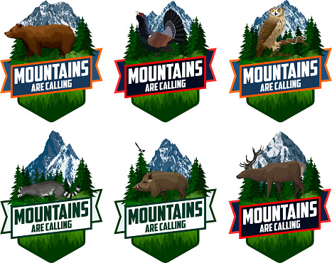 The Mountains Are Calling. vector Outdoor Adventure Inspiring Motivation Emblem logo illustration with deer, wood grouse, eagle owl, wild hog boar and  brown grizzly bear
