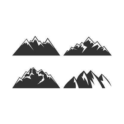 The mountains. Vector stylized heights and hills.