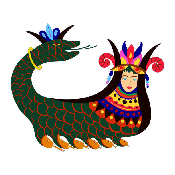 The mythical creature Shahmaran - half woman and half snake vector art illustration