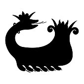 A black silhouette of the mythical creature Shahmaran (or Shah Maran - half woman and half snake). It is widely known in Iran, southeastern Anatolia and Iraq - Eps10 vector graphics and illustration