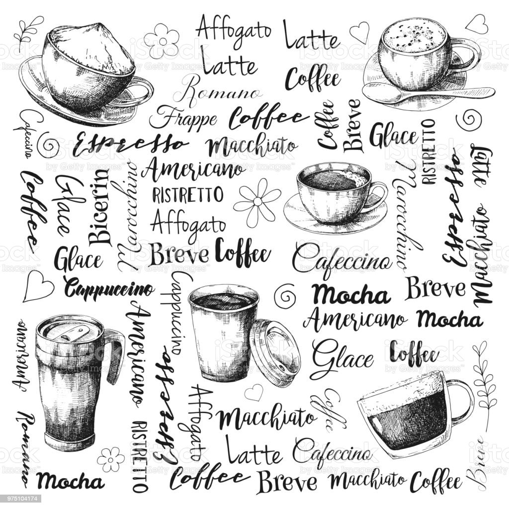 The names of different types of coffee. Different coffee cocktails....