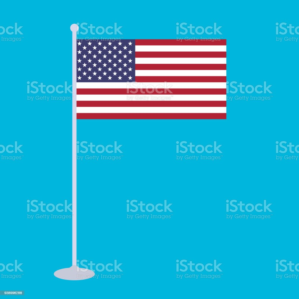The national flag and flagstaff of United States of America vector illustration. The color and size of the original USA flag. Colored in flag colors with flag pole isolated on light blue background.