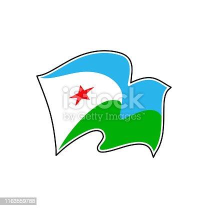 istock The national flag of Djibouti. Drapeau de Djibouti. Djiboutian natinal symbol. Vector illustration 1163559788